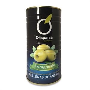 Imagen de Aceitunas Manzanilla rellenas de anchoa sin hueso Olispania 370 ml